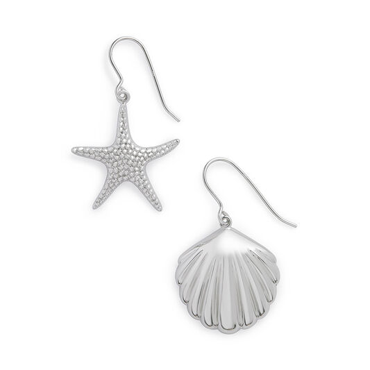 Shell & Starfish Silver Sleeper Earrings