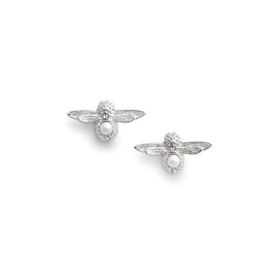 Clous d'oreilles Celebration Bee argent et perle (juin)