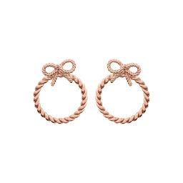 Vintage Bow Hoop Earrings Rose Gold