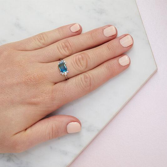 Tourmaline Silver Bubble Ring (M)