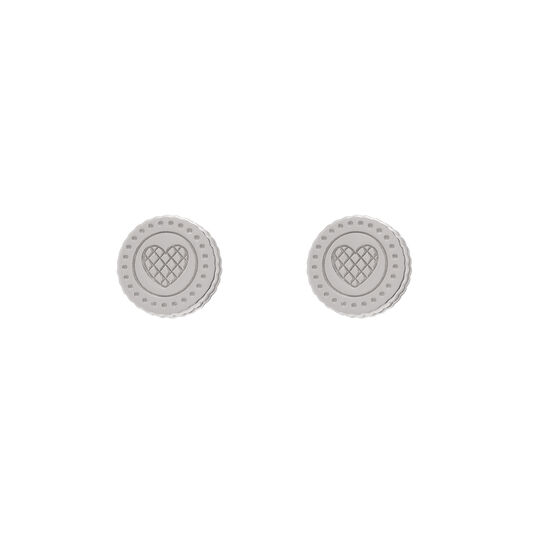 Tea Party Biscuit Silver Stud Earrings