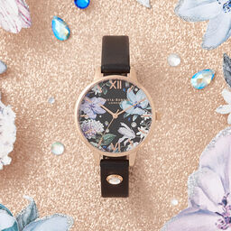 Bejewelled Florals Embellished Black & Rose Gold