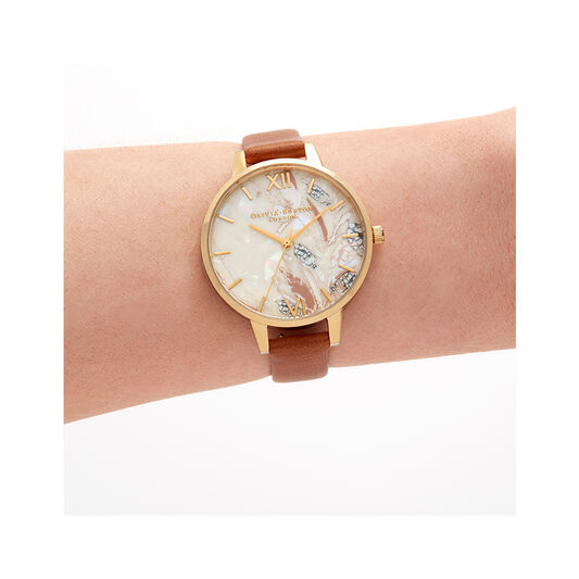 Abstract Florals Tan and Gold Watch