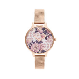 Wildflower Pale Rose Gold Mesh Watch