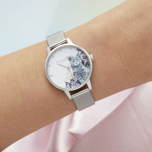 Illustrated Animals Midi Dial Grey Cat Silver Mesh Watch