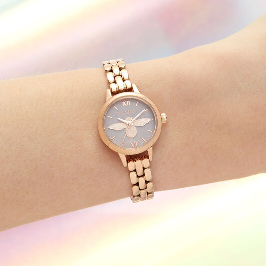 3D Bee, Blush Dial & Rose Gold Bracelet