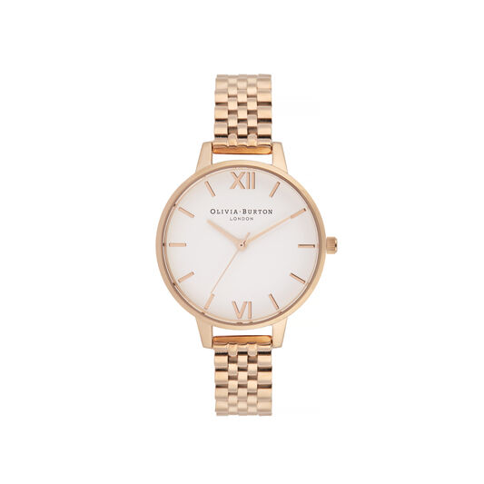 White Dial, Rose Gold Bracelet Watch