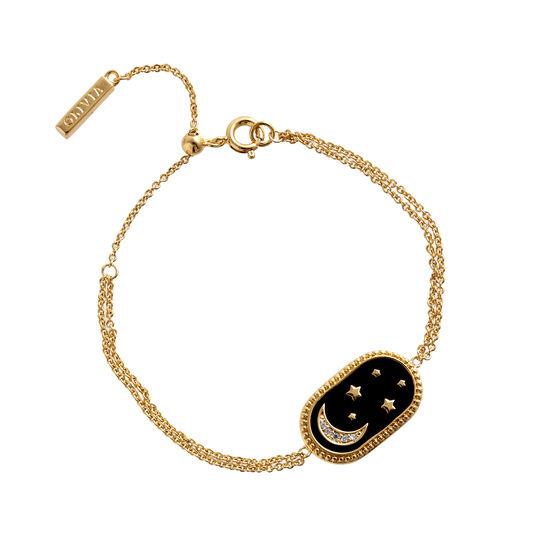 Bracelet North Star ovale noir et or