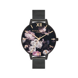 Signature Florals Black Mesh Watch