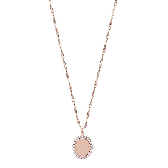 Antique Pearl Pendant Rose Gold Necklace