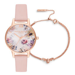 Lucky Bee Midi Sunlight Floral Dusty Pink & RG + Lucky Bee Chain Bracelet RG