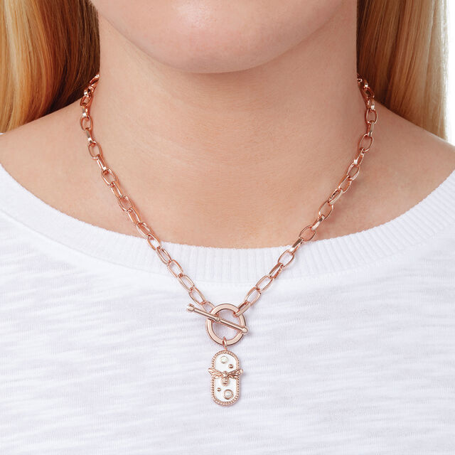 Lucky Bee White Enamel Bee Chain Necklace Rose Gold