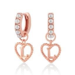 Faux Pearl Heart Initial Huggie Hoop Rose Gold