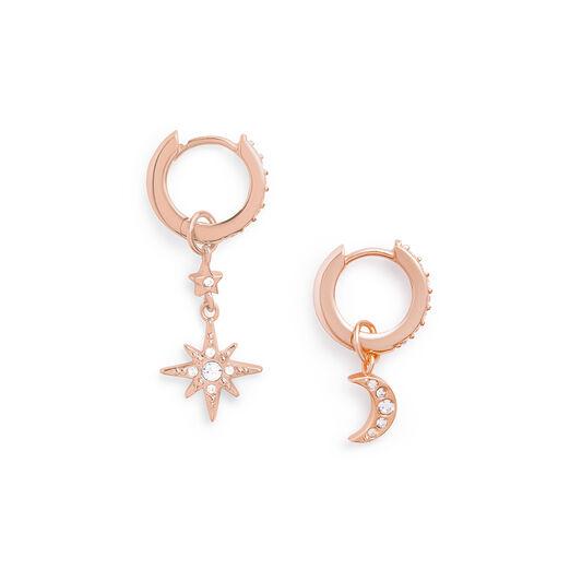 Moon & Star Rose Gold Huggie Hoops