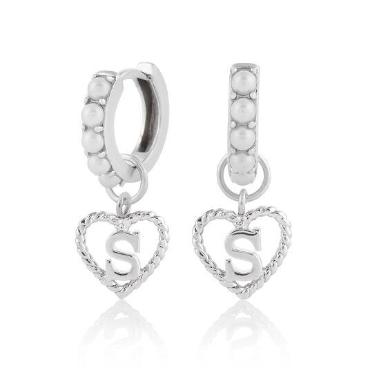 'S' Faux Pearl Heart Initial Huggie Hoop Silver