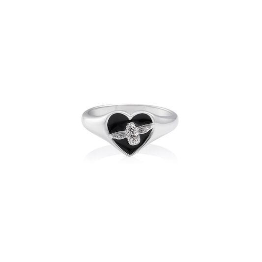 Love Bug Signet Ring Black & Silver M