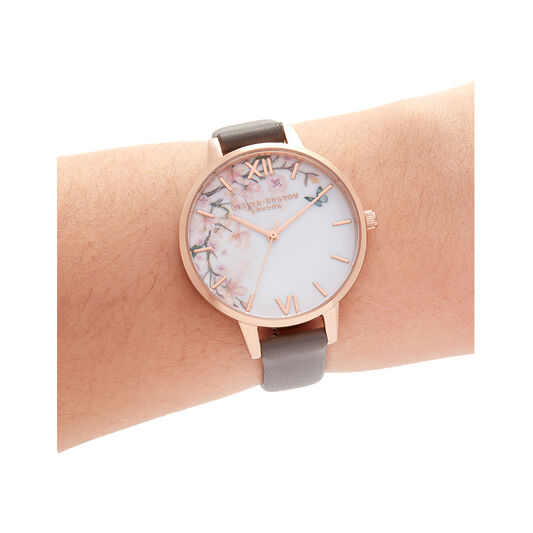 Pretty Blossom Grey & Rose Gold Watch