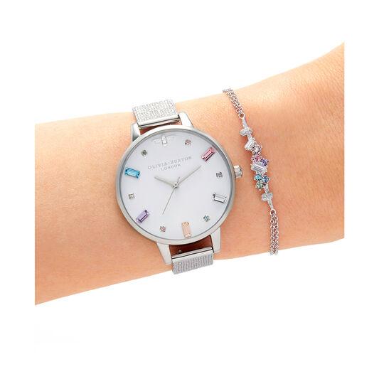Cadran Demi et bracelet milanais à boucle Rainbow Bee argent
