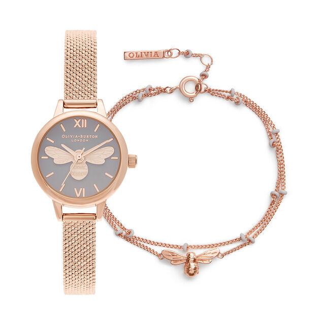 Bracelet charme au motif d'une mini abeille, cadran gris et maille bouclée RG avec chaîne Lucky Bee en émail gris