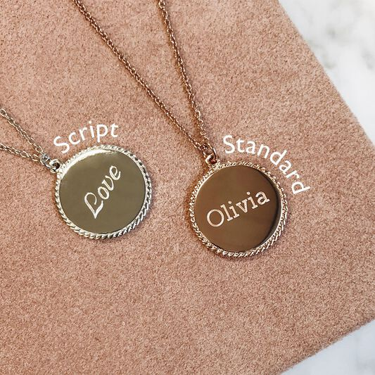 Engravable Disc Necklace Rose Gold