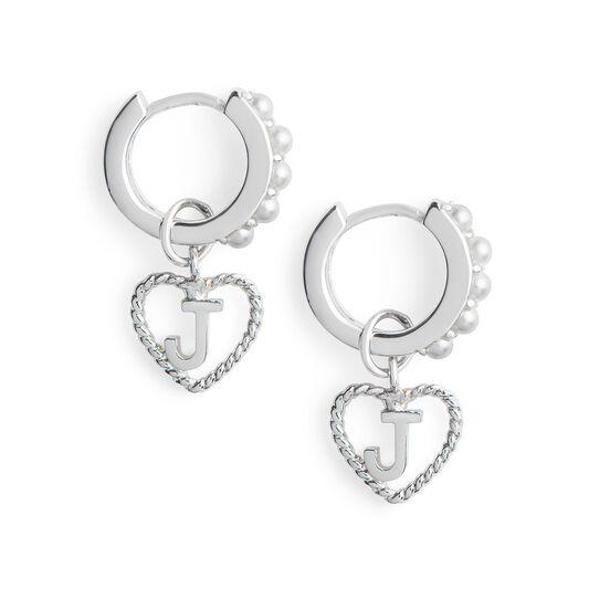 Faux Pearl Heart Initial Huggie Hoop Silver